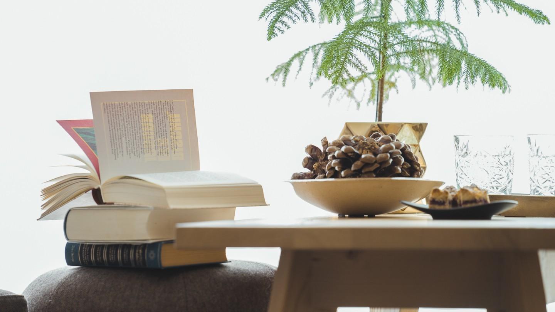 Bücher, kleines Bäumchen und Deko im Zimmer LechBlick superior im hotel und chalet madlochBlick in Lech am Arlberg.