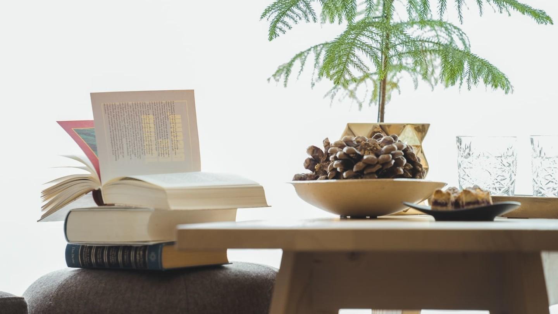 Tanne auf Couchtisch, daneben Bücher.