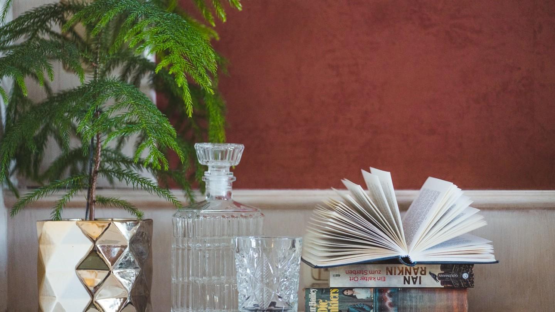 Ambiente mit Büchern und Drinks im Zimmer Omesberg.