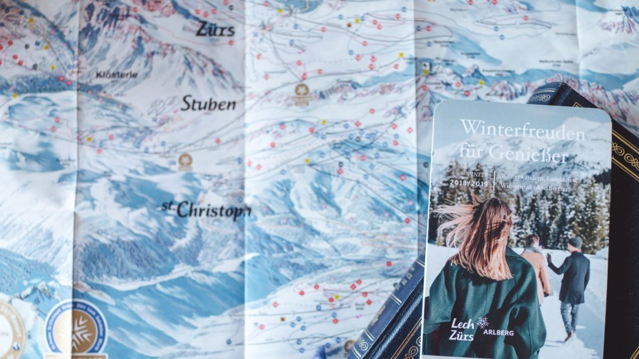 Ein Pistenplan des Skigebietes Arlberg.