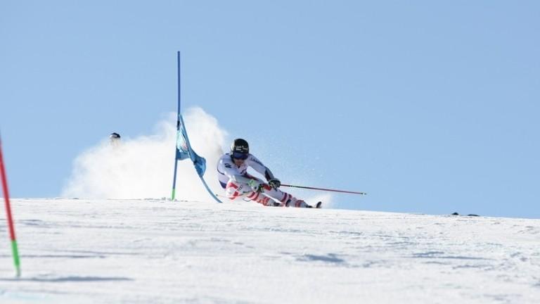 Skifahrer beim Flexenrace am Arlberg.